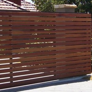 Brown Slatted Fence - Aus-Secure